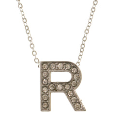 Initial R Adjustable Length Pendant-Necklace  With Crystal Accents Silver-Tone Color #3265
