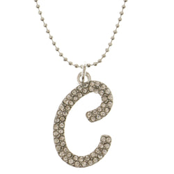 Initial C Adjustable Length Pendant-Necklace  With Crystal Accents Silver-Tone Color #3269