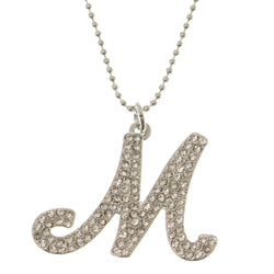 Initial M Adjustable Length Pendant-Necklace  With Crystal Accents Silver-Tone Color #3262