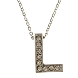 Initial L Adjustable Length Pendant-Necklace  With Crystal Accents Silver-Tone Color #3263