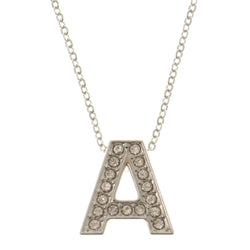 Initial A Adjustable Length Pendant-Necklace  With Crystal Accents Silver-Tone Color #3261