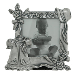 Dress & Flowers Little Girl Holds approx. 2.5x2.5in Photo Picture-Frame Pewter Color  #PF105