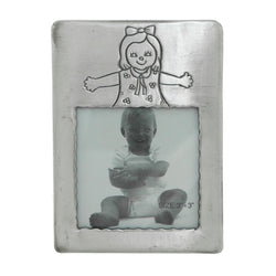 Little Girl Holds approx. 3x3in Photo Picture-Frame Pewter Color  #PF108