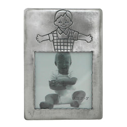 Little Boy Holds approx. 3x3in Photo Picture-Frame Pewter Color  #PF109