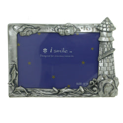 Lighthouse Ocean scene Holds approx 5x3in. Photo Picture-Frame Pewter Color  #PF117
