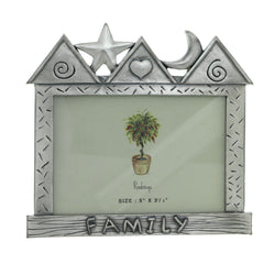 House Family Holds approx. 5x3.5in Photo Picture-Frame Pewter Color  #PF118