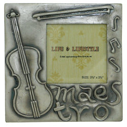 Violin Maestro Holds approx. 3.5x3.5in Photo Picture-Frame Pewter Color  #PF21