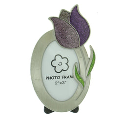 Tulip Holds approx. 2x3in Photo Picture-Frame Pewter & Multi Colored #PF39