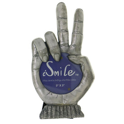Peace Sign Gesture Holds approx. 3x3in Photo Picture-Frame Pewter Color  #PF41