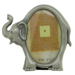 Elephants Holds approx. 2x3in Photo Picture-Frame Pewter Color  #PF42