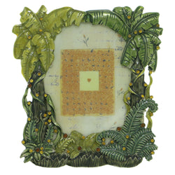 Palm Trees Plants Holds approx. 2.25x3.25in Photo Picture-Frame Pewter & Green Colored #PF43