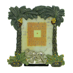 Elephants Palm Trees Holds approx. 2.25x3in Photo Picture-Frame Pewter & Multi Colored #PF44
