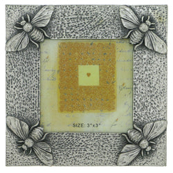Bee Insect Holds approx. 3x3in Photo Picture-Frame Pewter Color  #PF45