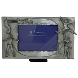 Ice Skating Holds approx. 6x4in Photo Picture-Frame Pewter Color  #PF48