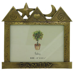 House with Star and Crescent Moon Family Holds approx. 5x3.5in Photo Picture-Frame Pewter Color  #PF49