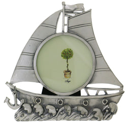 Sailboat on Ocean Holds approx. 3x3in Photo Picture-Frame Pewter Color  #PF56