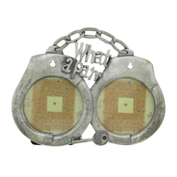 Handcuffs & Key What A Pair Holds approx. 2- 2.5x2.5in Photos Dual-Photo-Frame Pewter Color  #PF5