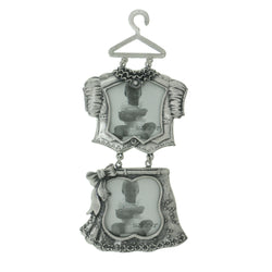 Little Girl Outfit Holds approx. 2-2x2in Photo Dual-Photo-Frame Pewter Color  #PF69