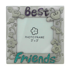 Flowers & Hearts Best Friends Holds approx. 3x3in Photo Picture-Frame Pewter & Multi Colored #PF6