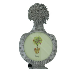 Flowers in Vase Holds approx. 3.25x3.25in Photo Picture-Frame Pewter Color  #PF71