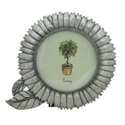 Flower Holds approx. 3x3in Photo Picture-Frame Pewter Color  #PF73