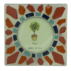 Geometric Design Holds approx. 3x3in Photo Picture-Frame Pewter & Multi Colored #PF77