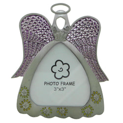 Angel Picture-Frame Holds Approx. 3x3in Photo Pewter  #PF87
