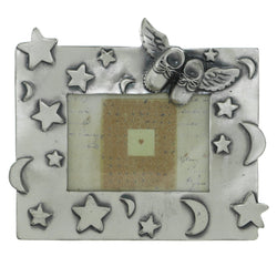 Baby Booties with Wings Stars Holds approx. 3x2in Photo Picture-Frame Pewter Color  #PF88