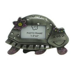 Turtle Holds approx. 1.5x2in Photo Picture-Frame Pewter & Multi Colored #PF97