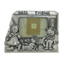 Best Friends Children Playing Holds approx. 3x3in Photo Picture-Frame Pewter Color  #PF98