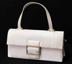 White Satin Fashion Clutch Purse With Rhinestone Accents and a Magnetic Snap Closures PS021