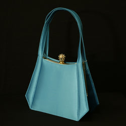 Women's Shoulder Purse - Blue Satin Evening Bag Clutch Purse PS20223