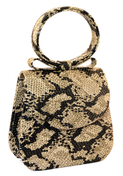 Brown & Black Snake-Skin Print Fashion Hand Bag Clutch Purse With Magnetic Snap Closure PS217