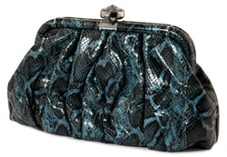 Blue Faux Leather Snakeskin Fashion Clutch Purse With Crystal Accent Closure PS226
