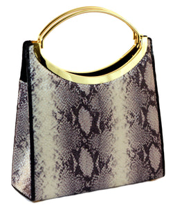 Black Snake-Skin Print Fashion Hand Bag Clutch Purse With Gold Handle and Magnetic Snap Closure PS300 - Mi Amore