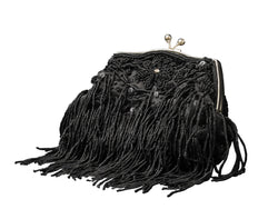 Womens Vintage Evening Bag - Beaded Sequined Handbag Clutch Purse PS40BLACK