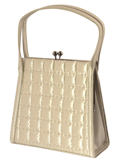 White Stitched Lattice Pattern Evening Bag - Satin Kiss-lock Clasp Shoulder Bag for Women PS4140IVYS