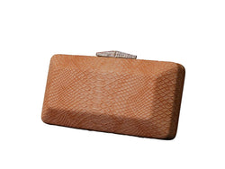 Trendy Womens Evening Clutch - Wax Leather Snake Skin - Peach PS41PEACH