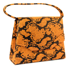 Orange & Black Snake-Skin Print Fashion Hand Bag Clutch Purse With Magnetic Snap Closure PS486B