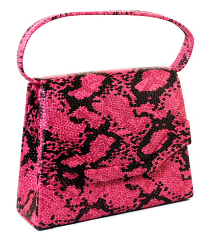 7870968e54aad0 Pink   Black Snake-Skin Print Fashion Hand Bag Clutch Purse With Magnetic  Snap Closure