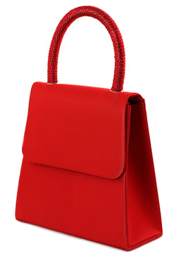 Red Satin Fashion Handbag Purse With Magnetic Snap Closure PS505