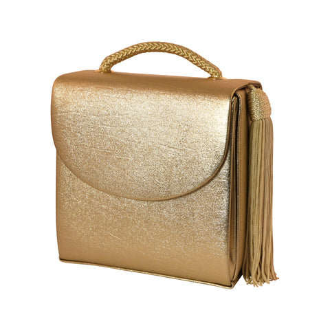 Womens Shoulder Bag - Golden PU Leather Evening Bag PS5661