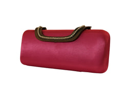 Fashion Womens Fushia Wedding Clutch - Satin Material - Intricately Designed Closure PS60FU