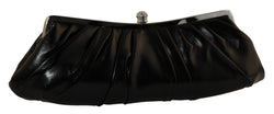 Black Faux Leather Fashion Clutch Purse with Crystal Accented Closure PS702S