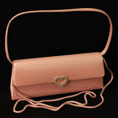 7feb35427e82b3 ... Pink Womens Evening Bag - Faux Leather Patent Crystal Heart Design  Clutch Purse for Ladies PS7817PK ...