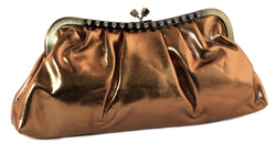 Bronze Faux Leather Fashion Clutch Purse With Crystal Accents PS81