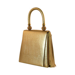 Ladies Evening Bag - Golden PU Leather Clutch Purse for Ladies PS9225