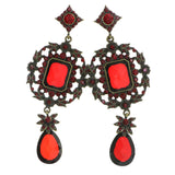 Gold-Tone & Red Colored Metal Drop-Dangle-Earrings With Crystal Accents #4197