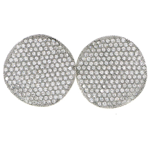 Silver-Tone Metal Stud-Earrings With Crystal Accents #4204