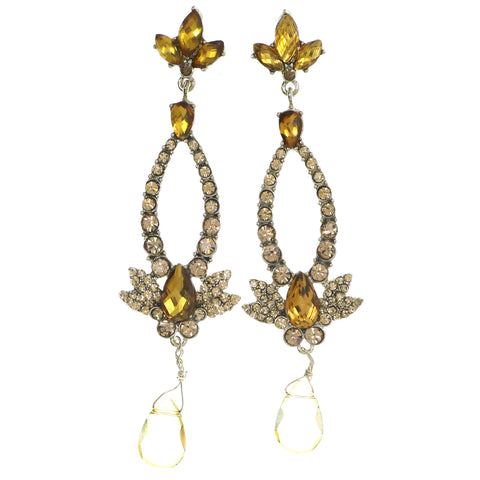 Gold-Tone & Orange Colored Metal Dangle-Earrings With Crystal Accents #4214